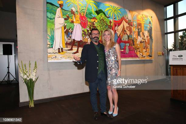 Artist Mauro Bergonzoli and his partner Franziska FuggerBabenhausen during a vernissage with artwork by artist Mauro Bergonzoli at the new building...