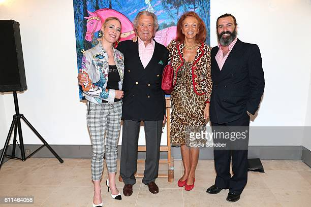 Artist Mauro Bergonzoli and his partner Franziska FuggerBabenhausen Toni Meggle and his wife Marina Meggle during the 'Bergonzoli in Bavaria'...