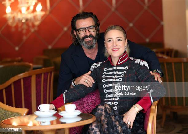 Artist Mauro Bergonzoli and his partner Princess Franziska Fugger von Babenhausen at the Hotel Belmond Cipriani on June 12 2019 in Venice Italy