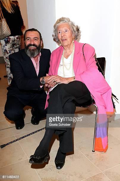 Artist Mauro Bergonzoli and Manni Marianne Fuerstin zu SaynWittgensteinSayn during the 'Bergonzoli in Bavaria' exhibition opening at Bayerisches...