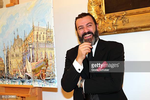 Artist Mauro Bergonzoli during the Mauro Bergonzoli 'Jakob in Venedig' exhibition opening at Fuerst Fugger Privatbank on February 24 2016 in Augsburg...