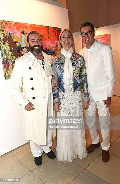 Artist Mauro Bergonzoli Franziska Countess Fugger von Babenhausen and Willi Bonke attend the Jaguar White Night at Wandelhalle Bad Wiessee on June 20...