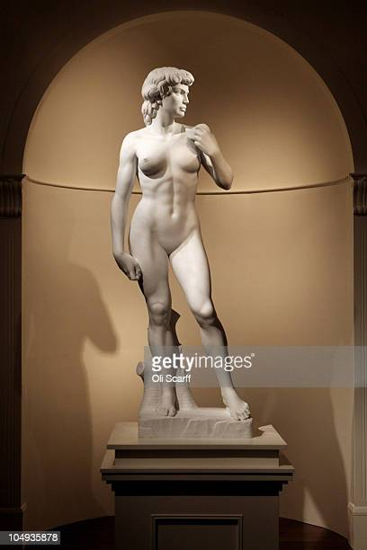 Artist Mauro Perucchetti's sculpture �David 2020� which depicts a female version of Michelangelo�s David is installed in the Halcyon Gallery on...