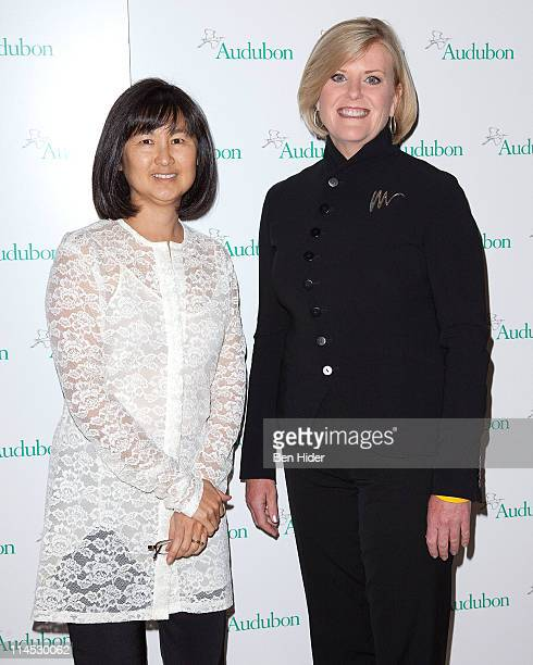 Artist Maya Lin and NBC News Correspondent Anne Thompson attend the 8th annual National Audubon Society Women in Conservation luncheon at The Plaza...