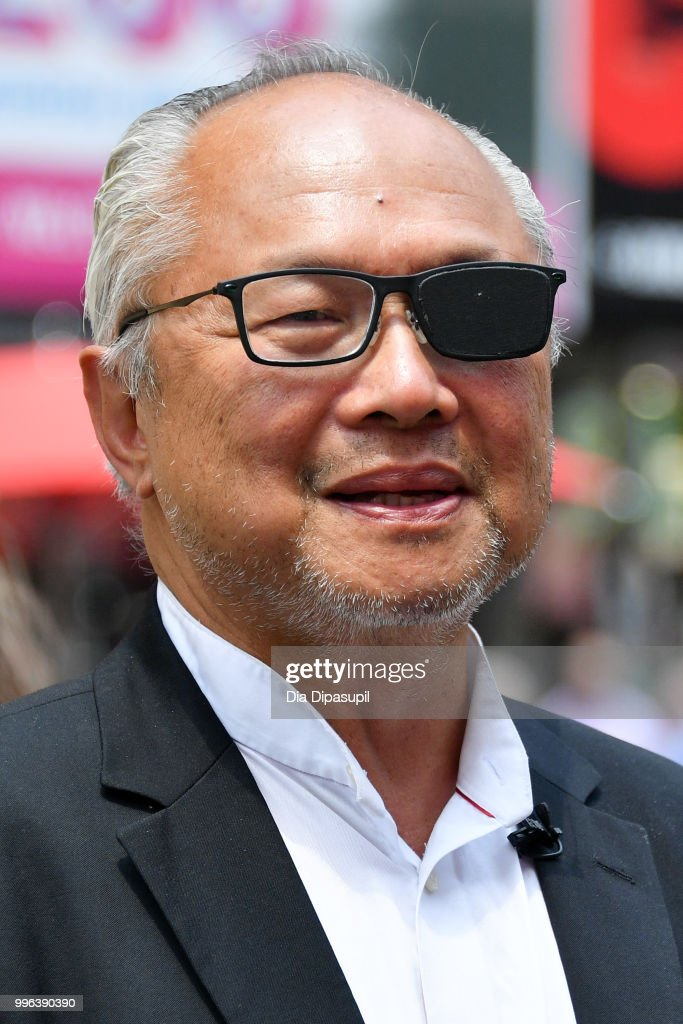 Artist Mel Chin attends the unveiling of his large-scale sculpture 'Wake' and companion mixed reality piece 'Unmoored' in Times Square on July 11, 2018 in New York City.
