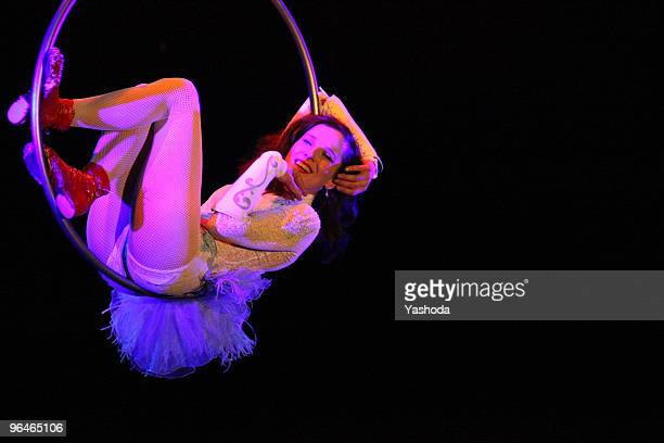 Artist Meret Becker performs in the cabaret premiere 'The fabulous variete show' during the reopening of the Berlin Wintergarten Variete on February...