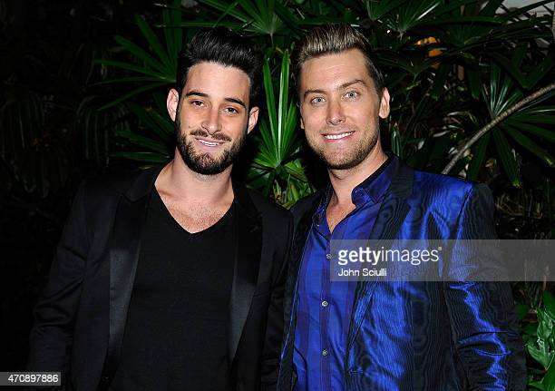 Artist Michael Turchin and tv personality Lance Bass attend Opening Ceremony and Calvin Klein Jeans' celebration launch of the #mycalvins Denim...