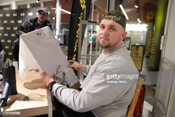 Artist Michael Wichert aka Kickelangelo seen at the Jack Wolfskin Spring/Summer 2019 collection launch during the Jack Wolfskin Night on March 22...