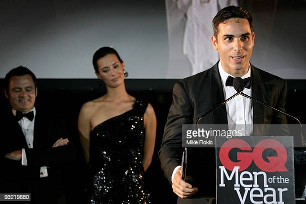 Artist Michael Zavros receives an award at the 2009 GQ Men Of The Year Awards at Sydney University on November 19 2009 in Sydney Australia