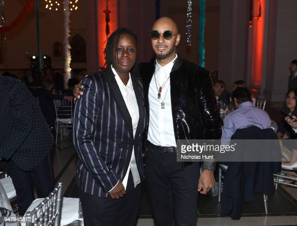 Artist Mickalene Thomas and Recording artist Kasseem 'Swizz Beatz' Dean attend the Eighth Annual Brooklyn Artists Ball at The Brooklyn Museum on...