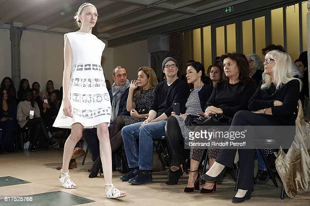 Artist Mike Bouchet and his wife guest and Dany Saval attend the Azzedine Alaia Fashion Show at Azzedine Alaia Gallery on October 23 2016 in Paris...