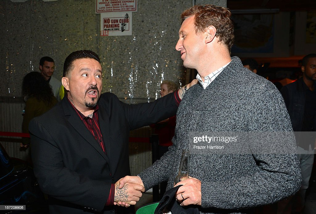 Artist Mister Cartoon and Director Ruben Fleischer attends SA Studios and Mister Cartoon VIP Screening and After Party of Warner Brothers Pictures 'Gangster Squad' at SA Studios on November 29, 2012 in Los Angeles, California.