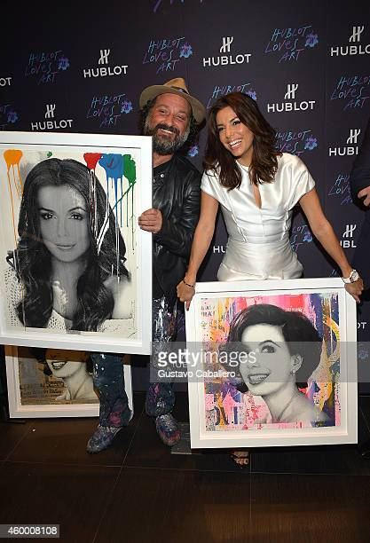 Artist Mr Brainwash and actress Eva Longoria attend Hublot Bal Harbour Presents Time is Beautiful with Mr Brainwash and Eva Longoria on December 5...