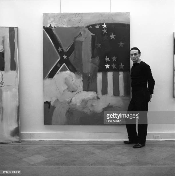 Artist, musician, filmmaker Larry Rivers at the Marlborough Gallery, New York, December 1960.