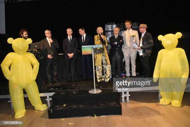 Artist Neil Beloufa President of the Ricard Foundation Philippe Savinel Franck Rister French Culture minister Alexandre Ricard chairman and CEO of...