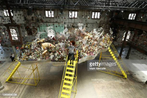 Artist Nick Cave poses during the Australian premiere of Nick Cave's solo exhibition 'Until' at Carriageworks on November 20 2018 in Sydney Australia