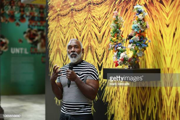 Artist Nick Cave talks during the Australian premiere of Nick Cave's solo exhibition 'Until' at Carriageworks on November 20 2018 in Sydney Australia