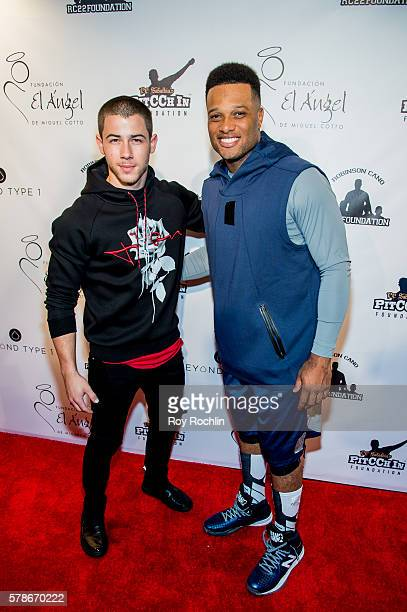 Artist Nick Jonas with MLB player Robinson Cano attend the 2016 Roc Nation Summer Classic Charity Basketball Tournament at Barclays Center of...