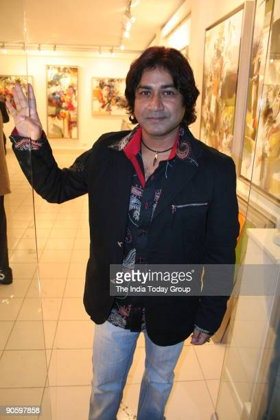 Artist Niladri Paul during his painting exhibition named 'Concert of Colours' at Santushti Shopping Arcade New Delhi