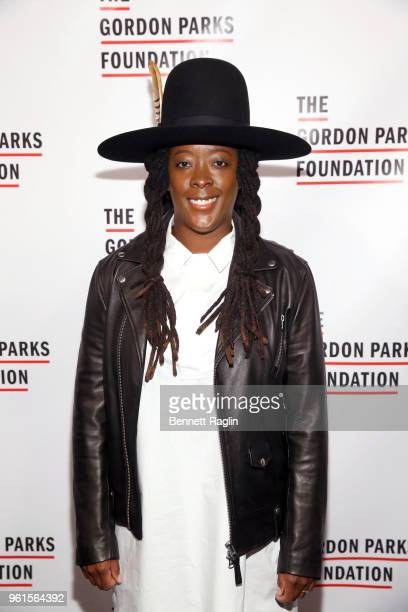 Artist Nina Chanel Abney attends Gordon Parks Foundation 2018 Awards Dinner Auction at Cipriani 42nd Street on May 22 2018 in New York City