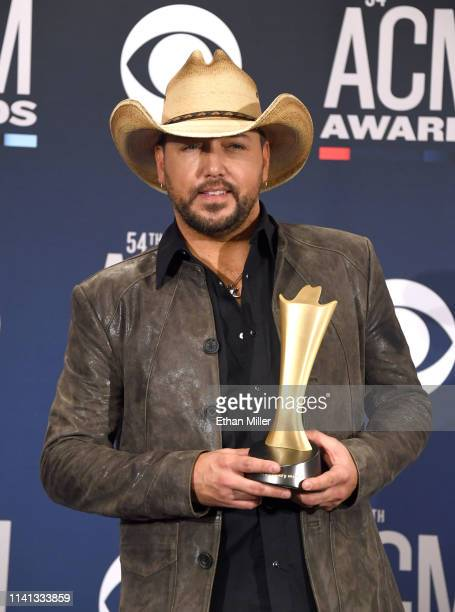 Artist of the Decade award winner Jason Aldean poses in the press room during the 54th Academy Of Country Music Awards at MGM Grand Garden Arena on...