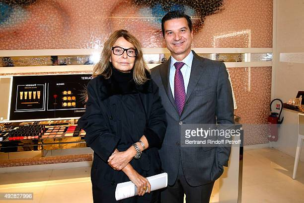Artist of the exhbition Bettina Rheims and Artistic director and nose of Guerlain Thierry Wasser attend the Opening of the 'Genre Ideal' Exhibition...