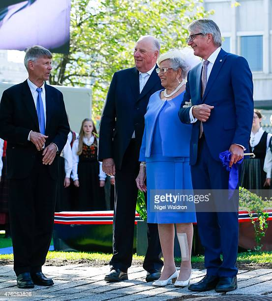 Artist Olav Orud King Harald of Norway Princess Astrid of Norway Mayor of Oslo Fabian Stang of Norway attend the unveiling of a statue of King Olav V...