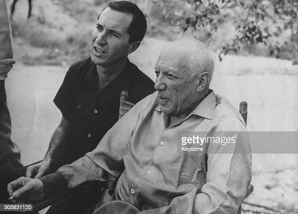 Artist Pablo Picasso and bullfighter Luis Miguel Dominguin pictured on the set of the film 'Testament of Orpheus' circa 1959