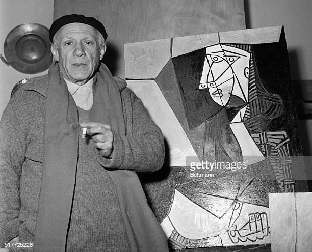 Artist Pablo Picasso with one of his latest works in Vallauris France where he is preparing for summer exhibitions