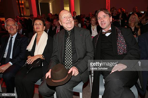 Artist painter Georg Baselitz and his wife Elke Baselitz and Bernhard Maaz during the PIN Party Let's party 4 art' at Pinakothek der Moderne on...