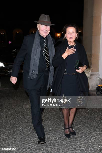 Artist painter Prof Georg Baselitz and his wife Elke Baselitz during the 80th birthday party of Roland Berger at Cuvillies Theatre on November 25...