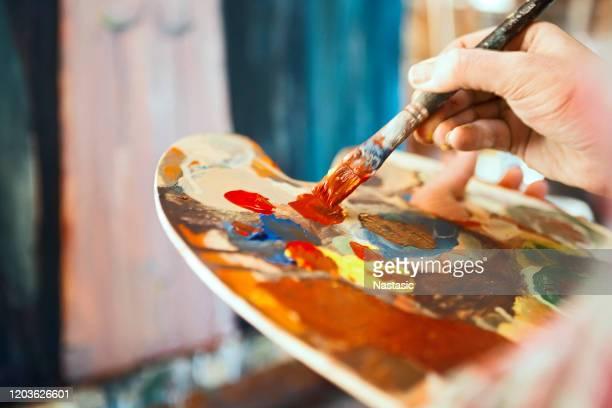 pittura d'artista - pittura accademica foto e immagini stock
