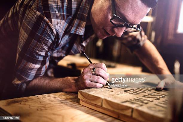 Artist Painting Wood Canvas