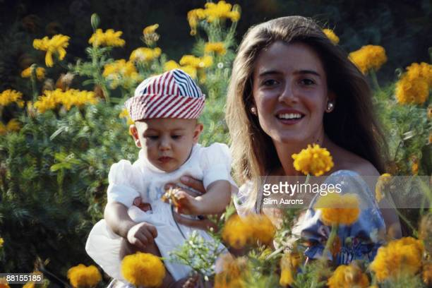 Artist Pascale Agostinelli with her son Giovanni at the Hotel Il Pellicano in Porto Ercole Tuscany Italy September 1986