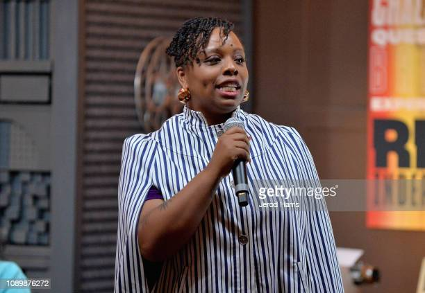 Artist Patrisse Cullors speaks during the Can Art Save Democracy Panel during the 2019 Sundance Film Festival at Filmmaker Lodge on January 26 2019...