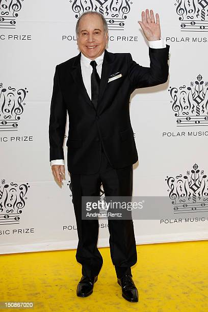 Artist Paul Simon arrives for the Polar Music Prize at Konserthuset on August 28, 2012 in Stockholm, Sweden.