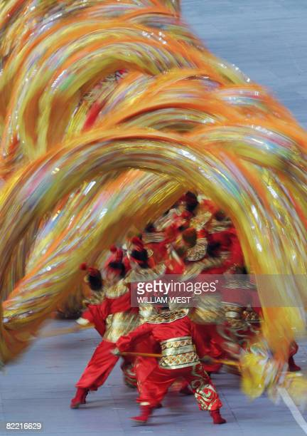 Artist perform ahead of the 2008 Beijing Olympic Games opening ceremony on August 8 2008 at the National Stadium in Beijing Over 10000 athletes from...