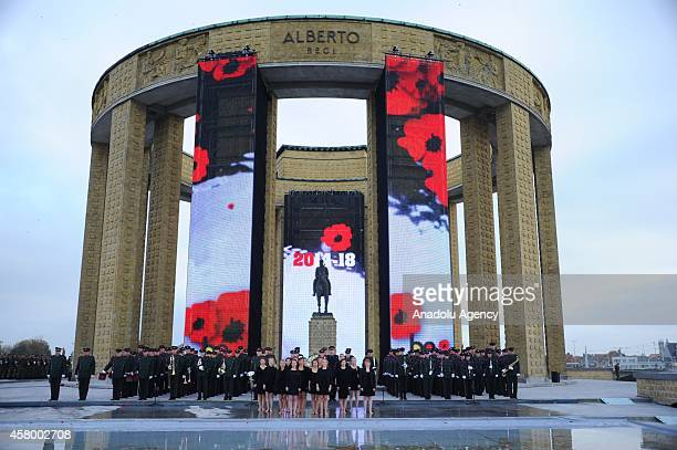 Artist perform at the King Albert I monument during the commemoration of 100th anniversary of WWI in Nieuwpoort Belgium on October 28 2014