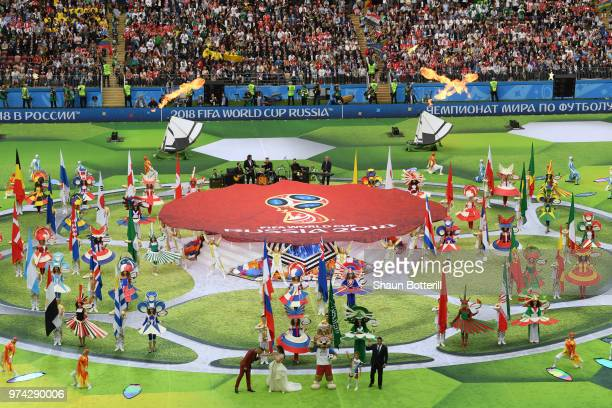 Artist perform during the opening ceremony prior to the 2018 FIFA World Cup Russia Group A match between Russia and Saudi Arabia at Luzhniki Stadium...