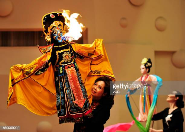 Artist perform the puppet show at theater on May 20 2017 in Yangzhou Jiangsu Province of China