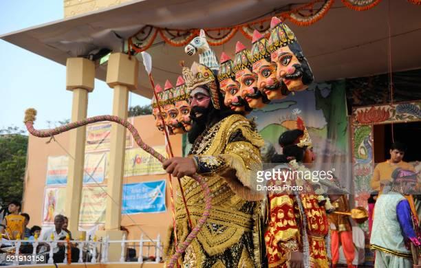Artist performing role of demon king ravan in ramleela on dussera dusera festival, India