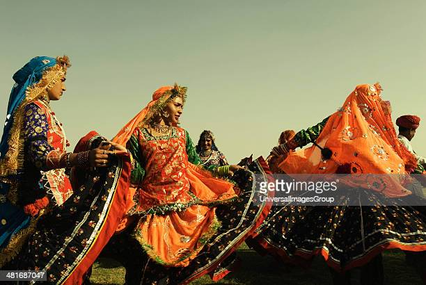 Artist performing traditional Rajasthan folk dance Jaipur Rajasthan India