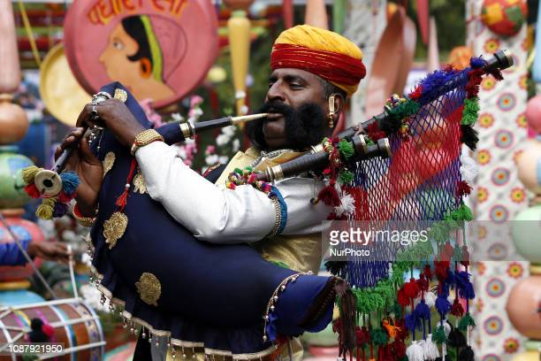Artist performs during the opening ceremony of the Jaipur Literature Festival at Diggi Palace in Jaipur Rajasthan India on January 24 2019