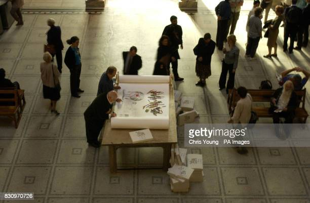 Artist Peter Blake and cartoonist Gerald Scarfe sketch in the Dome at the Victoria and Albert Museum in London to launch Draw the World part of a...