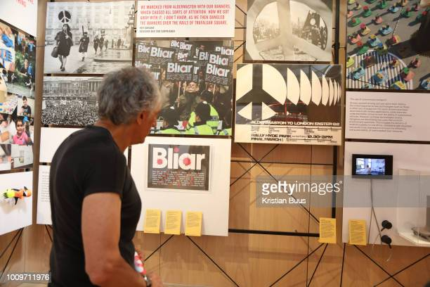 Artist Peter Kennard inspect the space where his work up till yesterday was on show at the Design Museum, London, Unted Kingdom, August 02 2018. He...