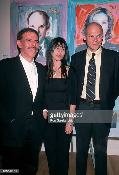 Artist Peter Max daughter and James Carville attend Peter Max Art Exhibit Opening on April 29 1999 at the Dyansen Gallery in New York City