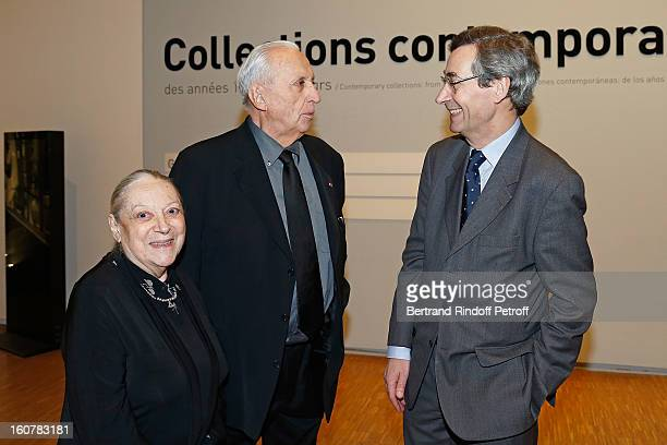 Artist Pierre Soulages his wife Colette and Alfred Pacquement Director of the Pompidou Museum of Modern Art attend the 8th Annual Dinner of the...