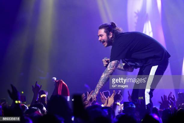 Artist Post Malone performs on stage during the 2017 iHeartRadio Canada Jingle Ball at the Air Canada Centre on December 9 2017 in Toronto Canada