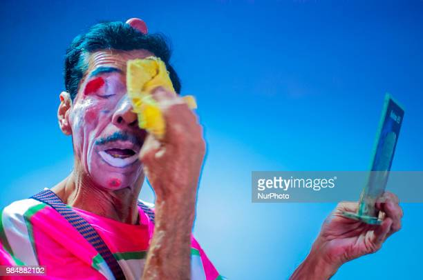 Artist prepares to act as a clown in the Center of Memory of the Circus in Sao Paulo Brazil on 27 June 2018