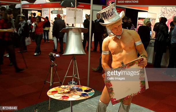 Artist Pricasso is busy creating an art works at the Cape Town Sexpo, on May 14, 2009 in Cape Town, South Africa. Pricasso is the world's only penile...